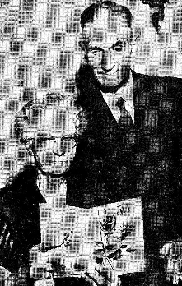 In 1954, Anna and Joseph Wicinski celebrated their golden wedding anniversary. Joseph was the bridge tender of the Maple Street Bridge for 31 years. Photo: Courtesy Photo/Manistee County Historical Museum