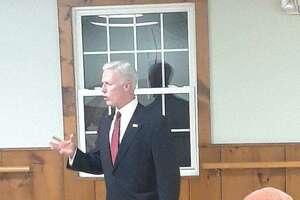 David X. Sullivan of New Fairfield speaks with members of the Goshen Republican Town Committee.