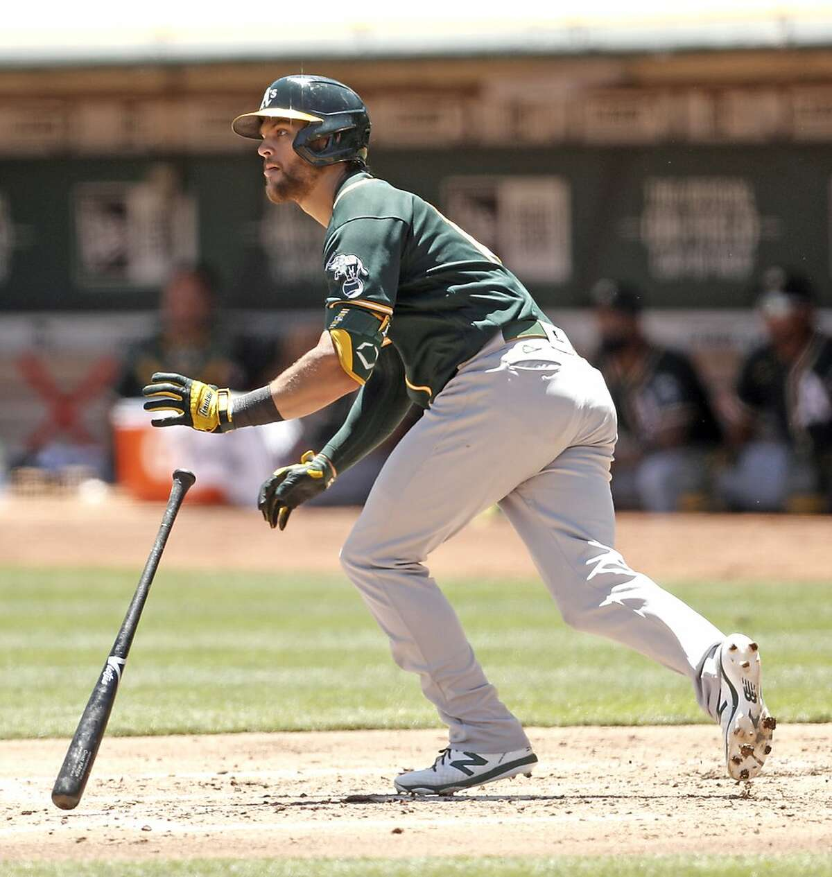 Oakland Athletics' Chad Pinder singles during simulated game at Oakland Coliseum in Oakland, Calif., on Sunday, July 12, 2020.