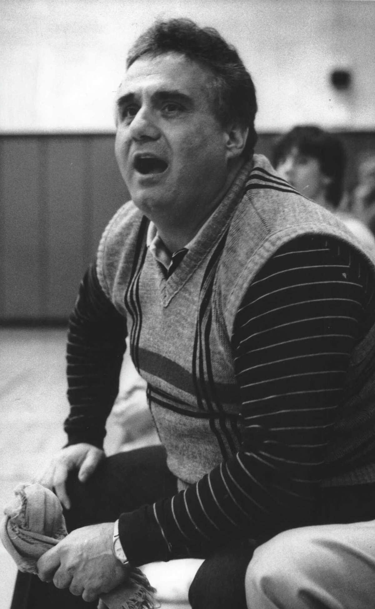 Cohoes, New York High School basketball coach Joe Loudis yells in game from the sidelines. Undated (Bruce Cromie/Times Union Archive)