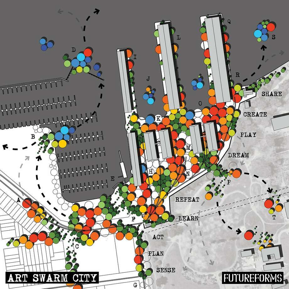 "Rendering of ""Art Swarm City"" at Fort Mason, by Jason Kelly Johnson and Nataly Gattegno. Photo: Jason Kelly Johnson"