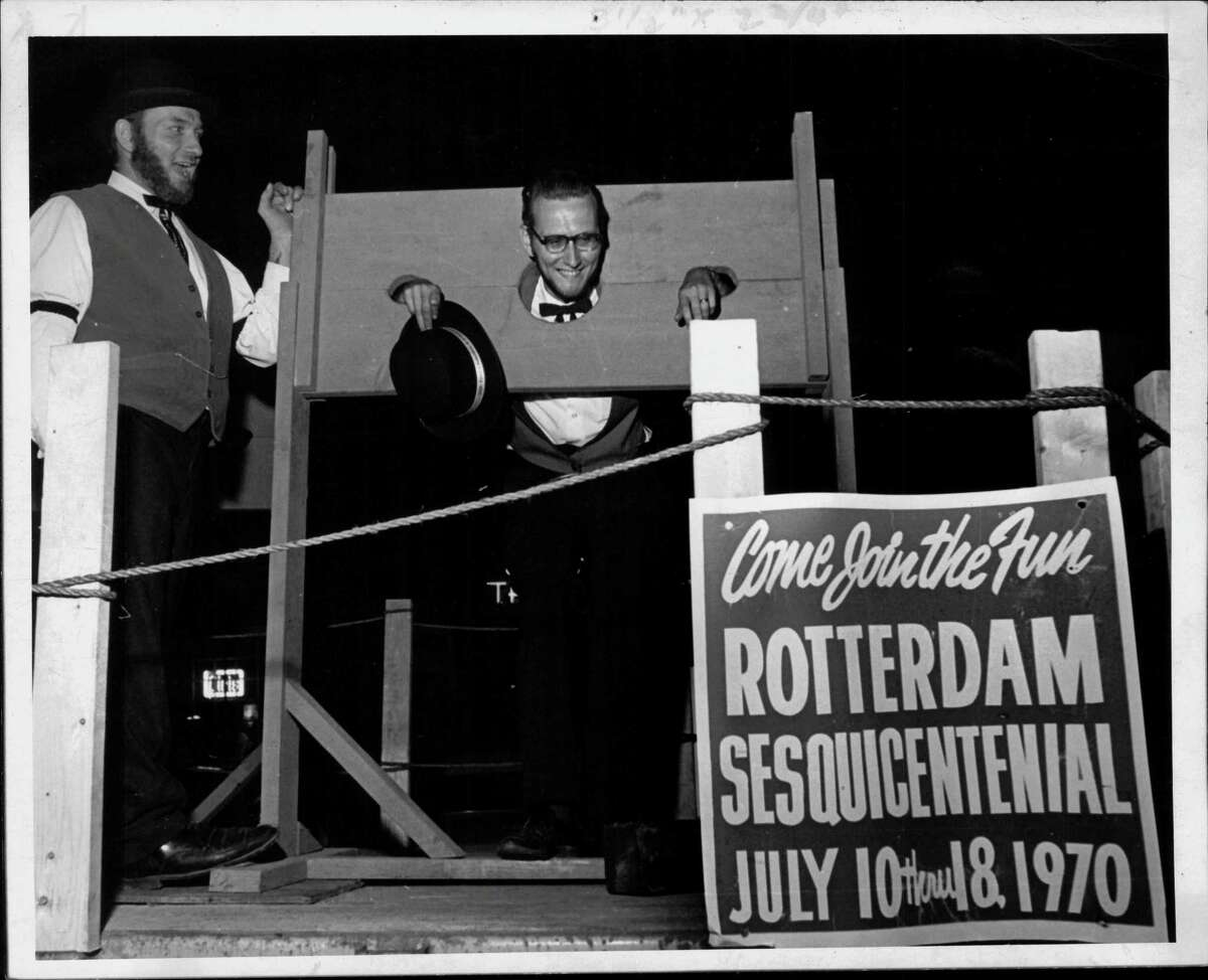 Rotterdam Sesquicentennial celebration - Ray Swinniers in the stocks. July 1970 (Paul Kniskern/Times Union Archive)