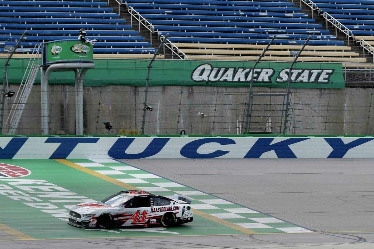 Cole Custer (41) wins a NASCAR Cup Series auto race Sunday, July 12, 2020, in Sparta, Ky. (AP Photo/Mark Humphrey)
