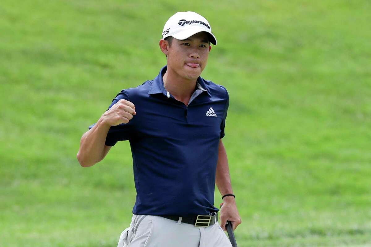 Collin Morikawa reacts to a putt on the first playoff hole during the final round of the Workday Charity Open golf tournament, Sunday, July 12, 2020, in Dublin, Ohio. (AP Photo/Darron Cummings)
