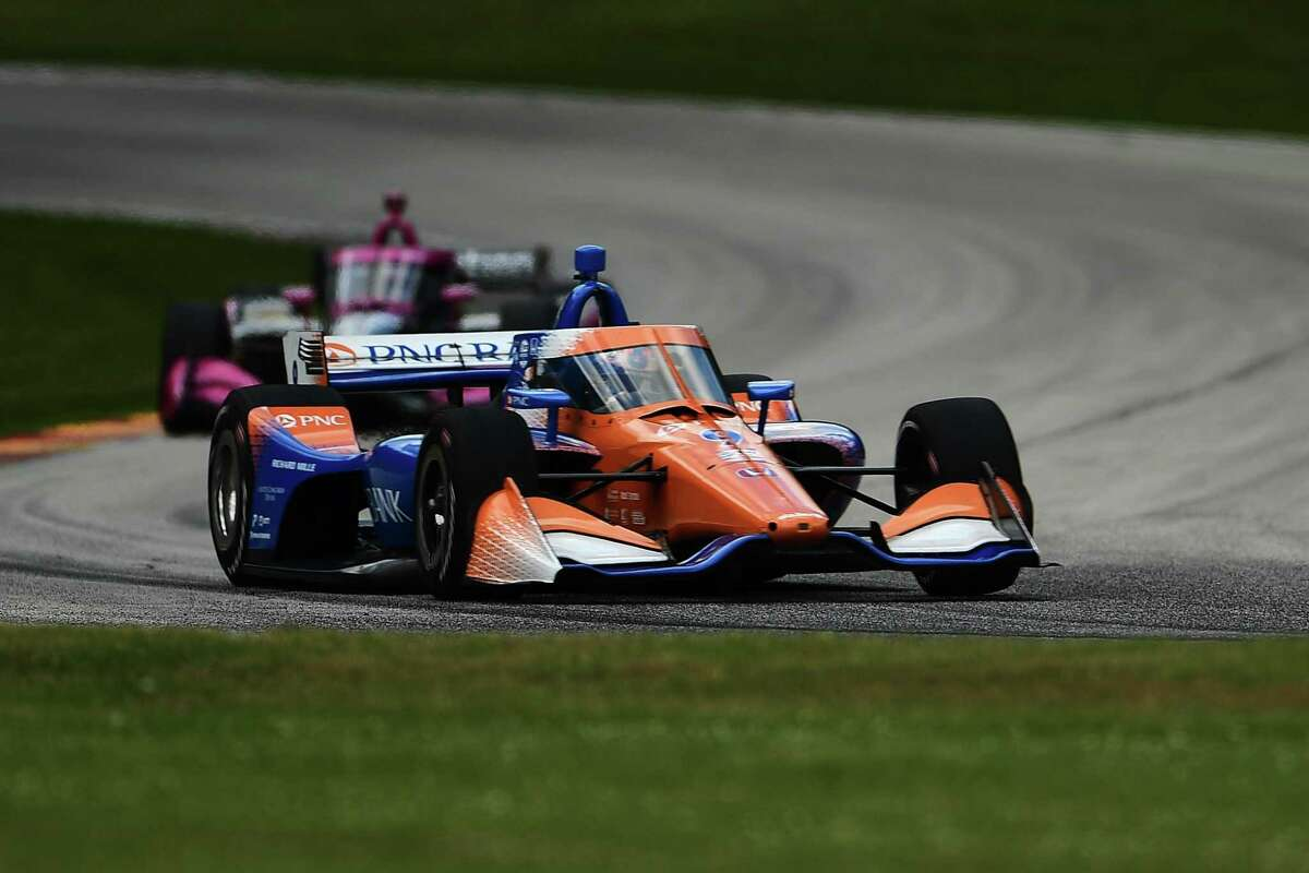 ELKHART LAKE, WISCONSIN - JULY 12: Scott Dixon, driver of the #9 PNC Bank Ganassi Racing Honda, races during the NTT IndyCar Series Rev Group Grand Prix Race 2 at Road America on July 12, 2020 in Elkhart Lake, Wisconsin. (Photo by Stacy Revere/Getty Images)