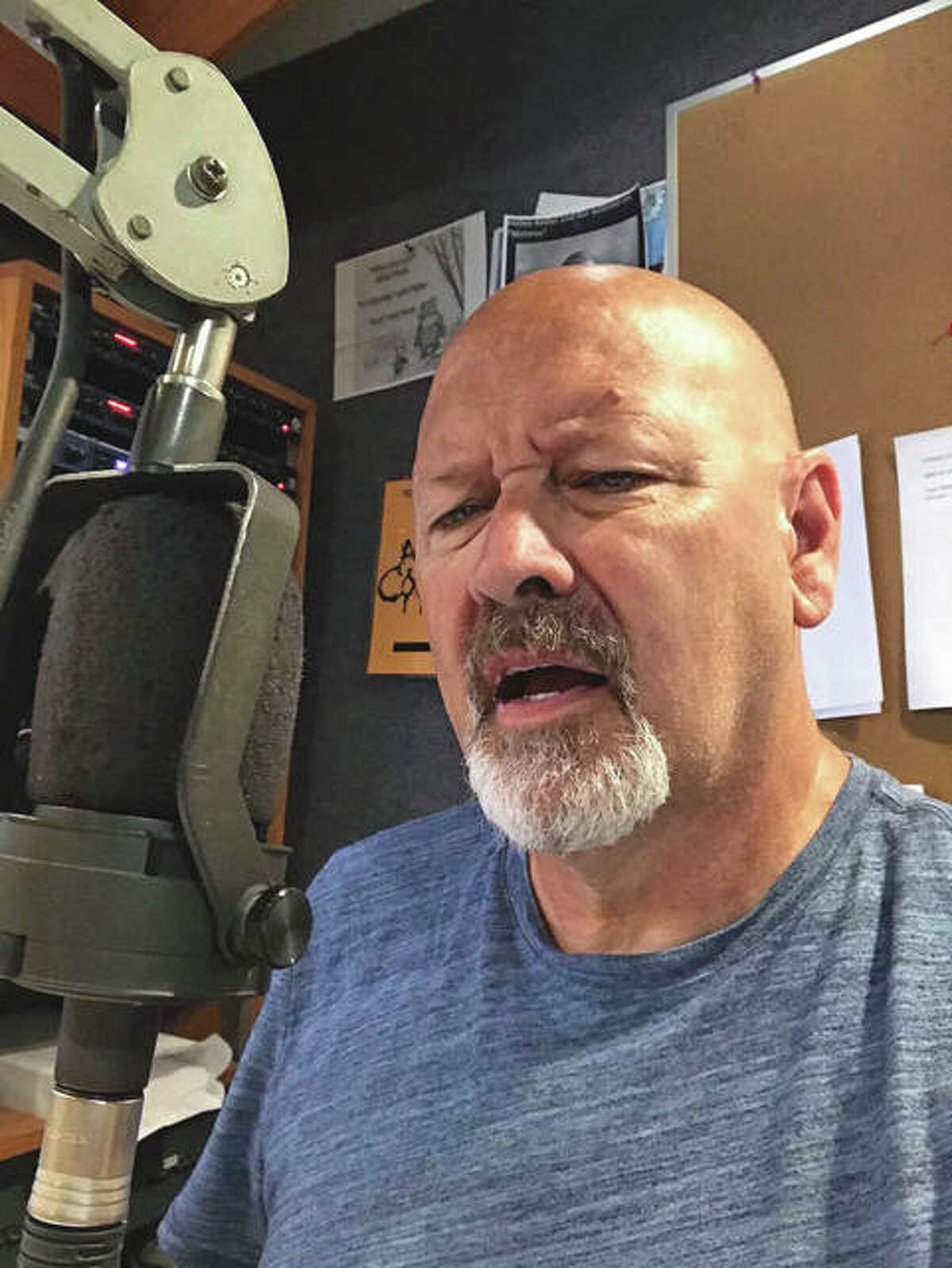 Dave Comstock on the air in the morning at BOB-FM in Springfield.