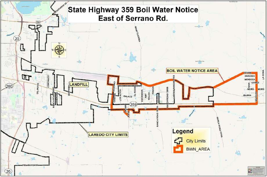 Shown is the area of Laredo and Webb County under a boil water notice. Starting Monday a company hired by the city will be using a specialized system to filter, rechlorinate and recirculate the water in the affected area, cleaning the lines block by block without flushing water into the street Photo: Courtesy / City Of Laredo