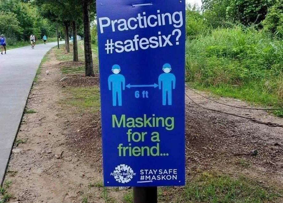 Signs such as this one from Atlanta, Ga, offer advice to prevent the spread of the coronavirus. Photo: Atlanta Beltline Photo