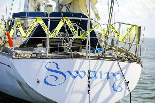 The Swany, a 72-foot sailboat, is at the center of a dispute between its owner, James Harding, and the city of Norwalk. City officials say they may take ownership of the boat, which has been moored off Sheffield Island for months, unless Harding finds a legal place to dock it.