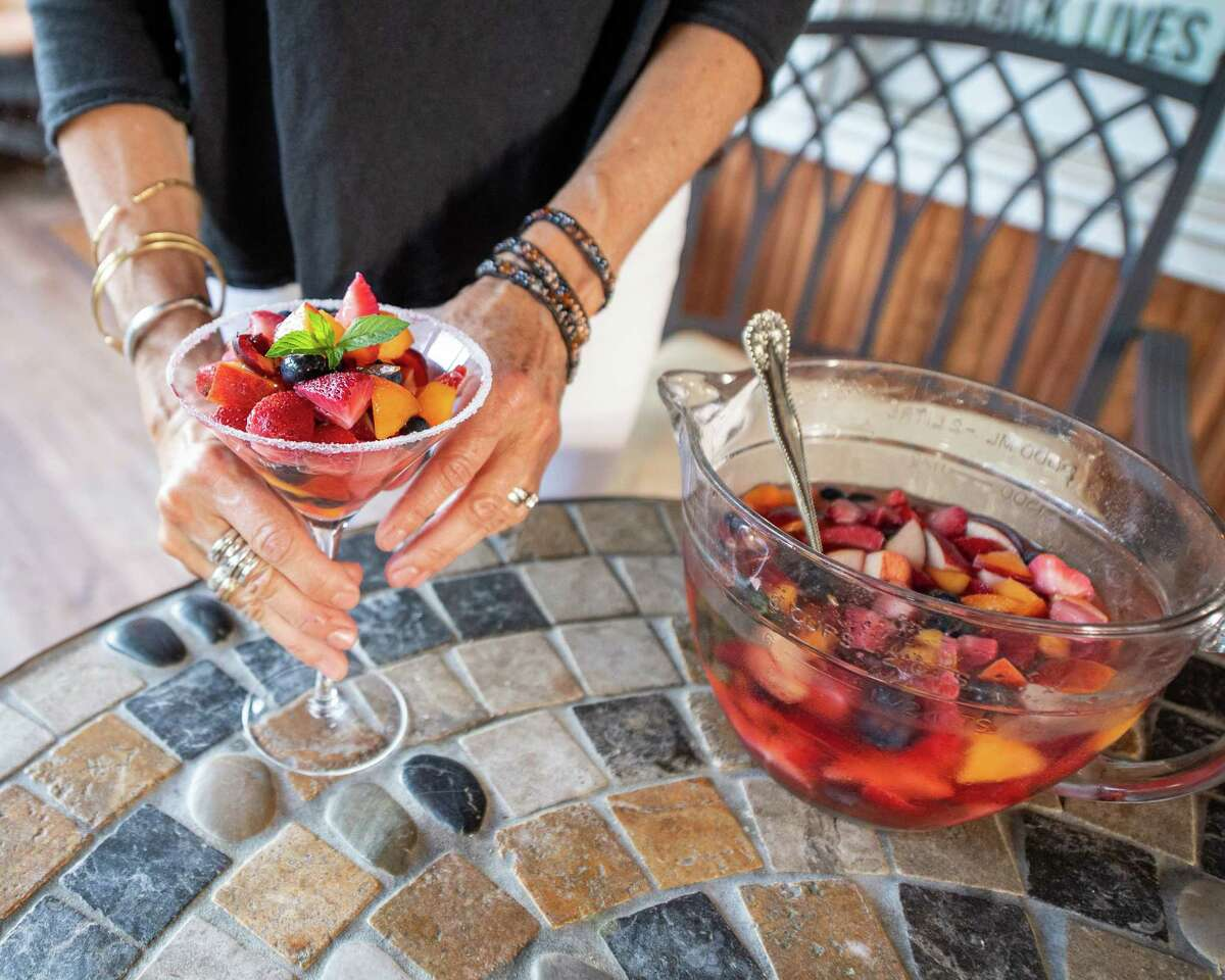 Sangria Fruit Salad: strawberry, blueberry, cherry, fresh mint and sugar at Caroline Barrett's home in Delmar NY on Thursday, July 9, 2020 (Jim Franco/Special to the Times Union)