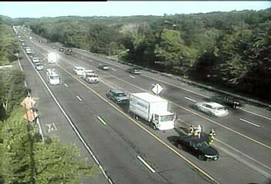 An accident involving a box truck is causing traffic delays on I-95 north in Branford on Monday morning on July 13, 2020. Photo: Traffic Cam Image
