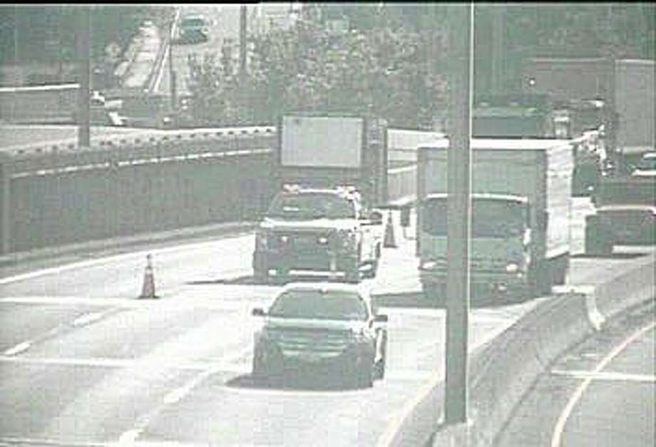 Emergency construction work has closed the southbound center lane on I-95 in Stamford Monday morning on July 13, 2020. The work is between Exits 9 and 7. Photo: Traffic Cam Image
