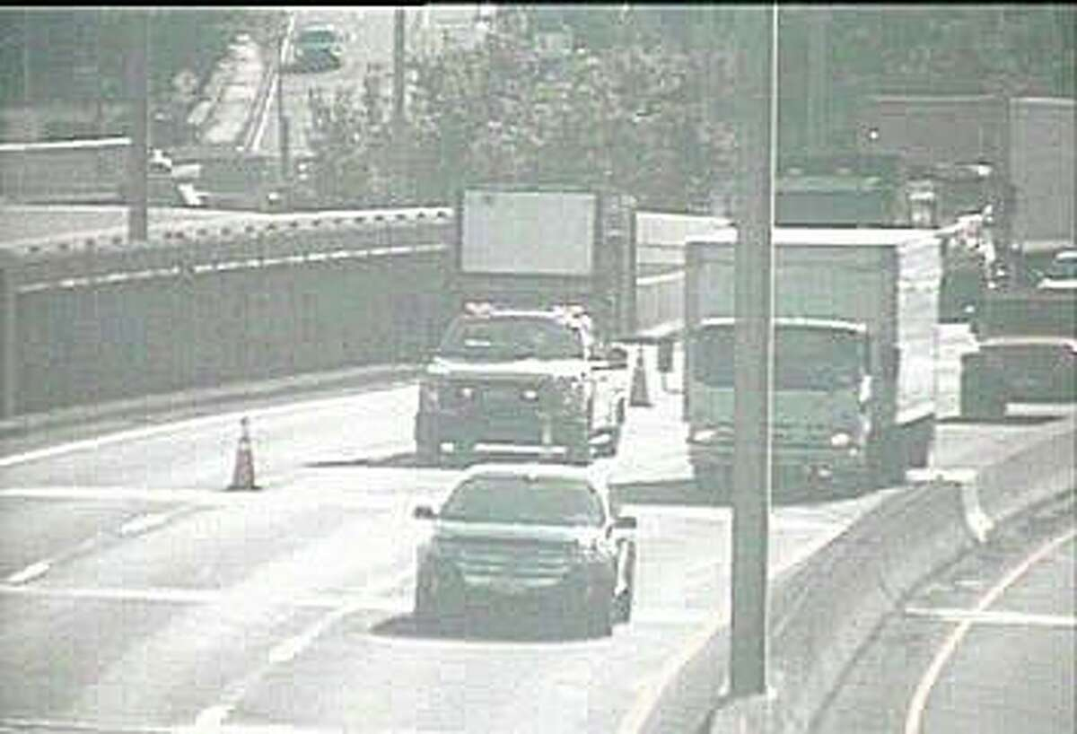 Emergency construction work has closed the southbound center lane on I-95 in Stamford Monday morning on July 13, 2020. The work is between Exits 9 and 7.
