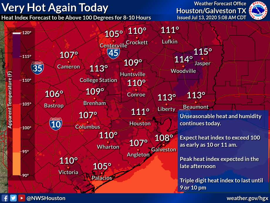 Houston is in for another day of extremely hot weather on Monday, July 13. Photo: National Weather Service