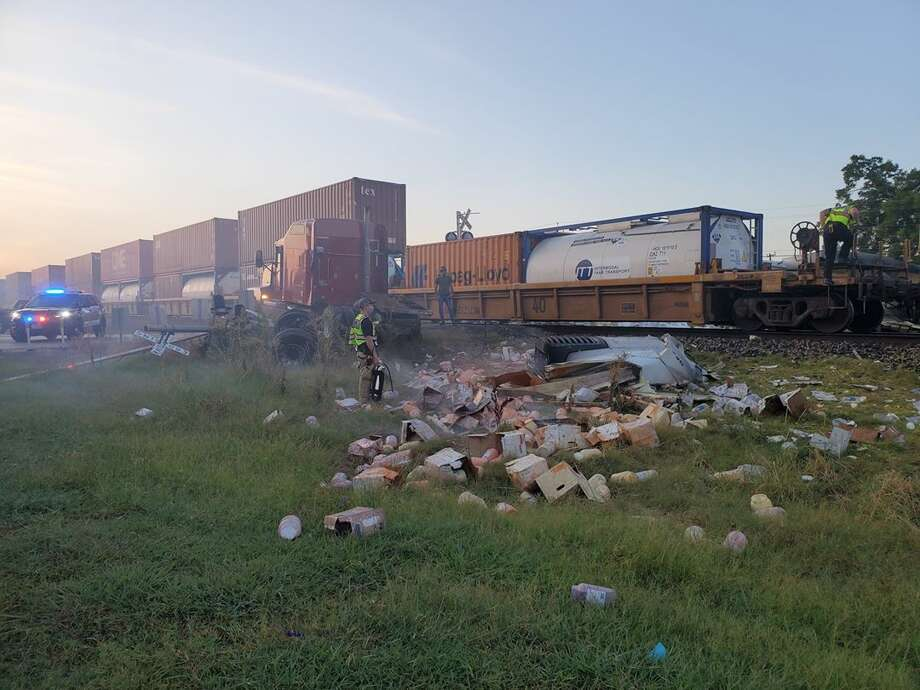 Cibolo police have closed down the area near Country Lane and FM 78 after a train crashed into an 18-wheeler. Photo: Cibolo Police Department