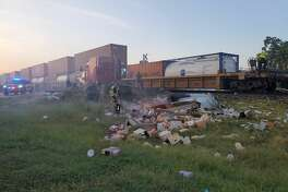 Cibolo police have closed down the area near Country Lane and FM 78 after a train crashed into an 18-wheeler.