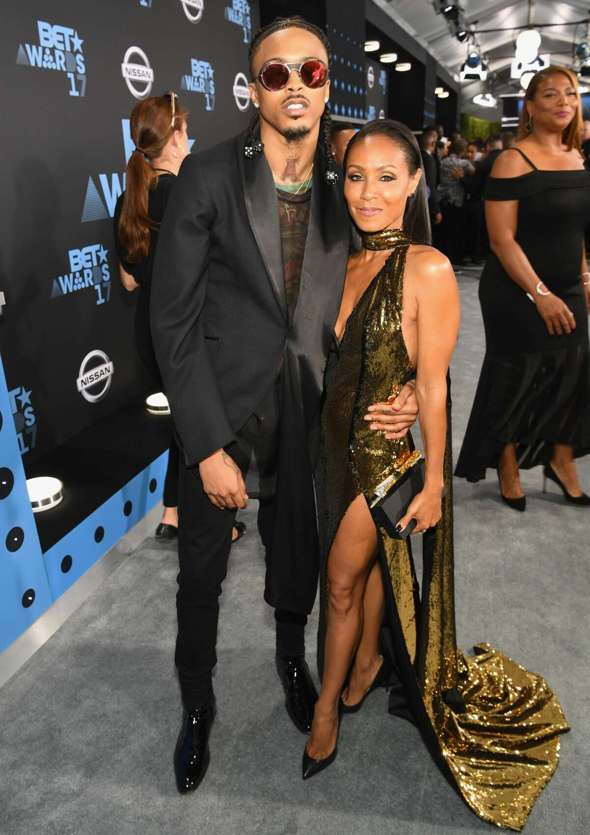 In this June 2017 photo, August Alsina (L) and Jada Pinkett Smith pose for a photo at the 2017 BET Awards at Staples Center in Los Angeles, California.