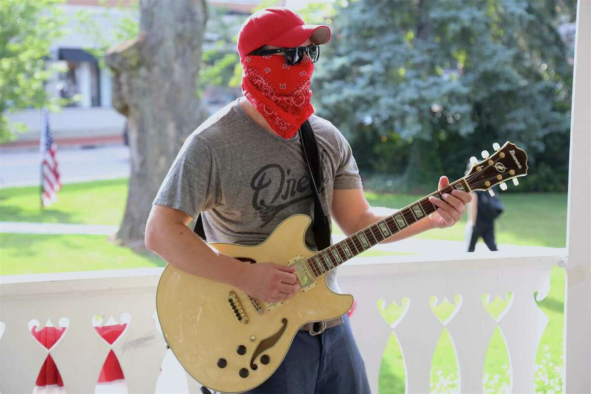 Guitarist Jeff Tavolacci of Fairfield gets ready to rock at this season's first Sherman Green Summer Concert on Saturday, July 11, 2020, in Fairfield, Conn.