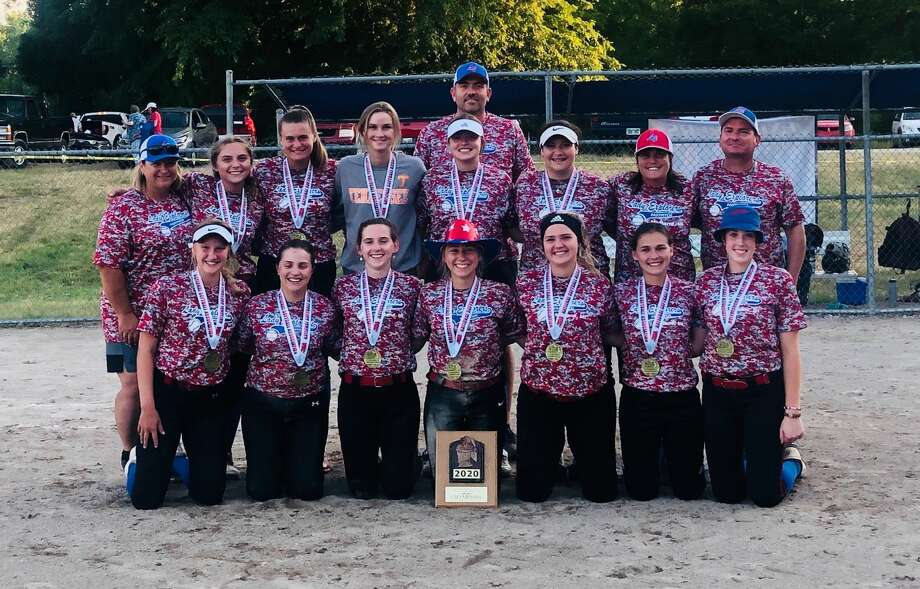 Members of the Midland Lady Explorers 18U softball team which won its age division at the Line Drive Summer Slam tournament are (front, from left) Krista Moe, Summer Stone, Jillian Krawczak, Gabby Schloop, Mady Snyder, Laiken Ex, Hailey Leister; and (back, from left) assistant coach Jodi Mayan, Katie Bickham, Addison Cooley, Cat Talaga, Markie Hooton, assistant coach Tim Gilbert, Ashley Roper, manager Casey Kristin, and assistant coach Fred Kelly. Photo: Photo Provided