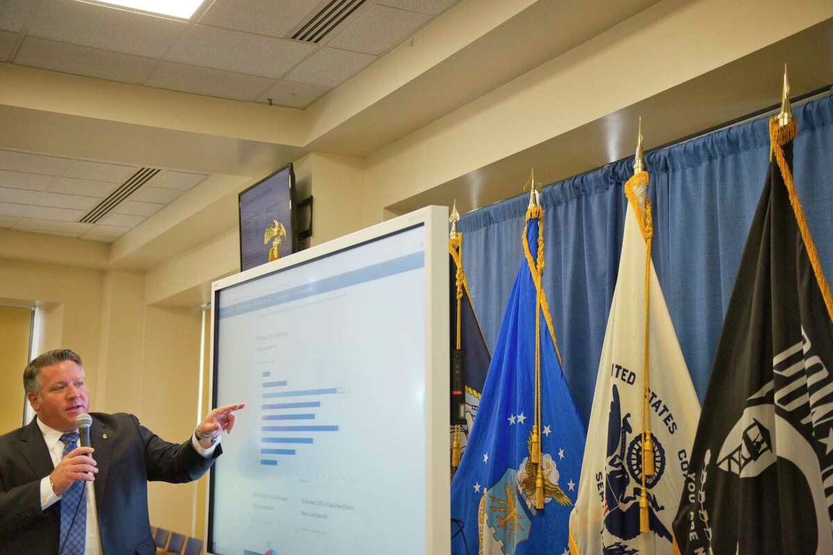 Albany County Executive Dan McCoy talks about COVID-19 at a press conference on Monday, July 13, 2020, in Albany, N.Y. (Paul Buckowski/Times Union)