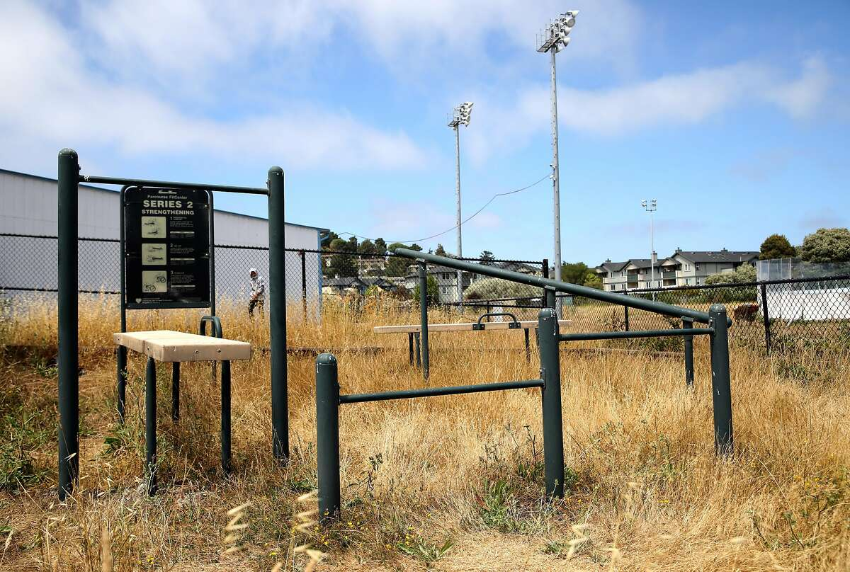 """Paul Austin, 44, CEO of Play Marin, a nonprofit that runs sports leagues and other classes for youth in Marin City, would like to place a gym and build a ball field at a former school located near the Marin City Recreation Center, located at 630 Drake Ave., on Wednesday, July 1, 2020, in Sausalito, Calif. """"It's an uphill battle, but a battle worth fighting,"""" Austin said. Most of the kids in these programs live in public housing. Paul grew up in Marin City and has been pushing for county executives to provide more funding to programs and infrastructure in Marin City. He's been pointing out the large disparities between Marin City's resources and the surrounding wealth of Sausalito and the rest of Marin County"""
