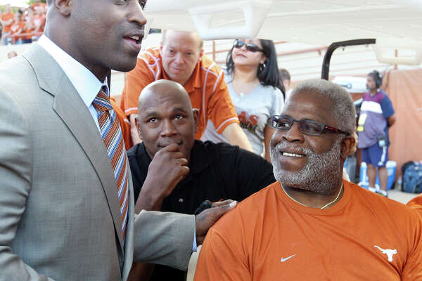 Former Texas Longhorns players Ricky Williams (left) and Earl Campbell talk before the Texas Longhorns and New Mexico Lobos game Saturday Sept. 8, 2012 at Texas Memorial Stadium in Austin, Tx.