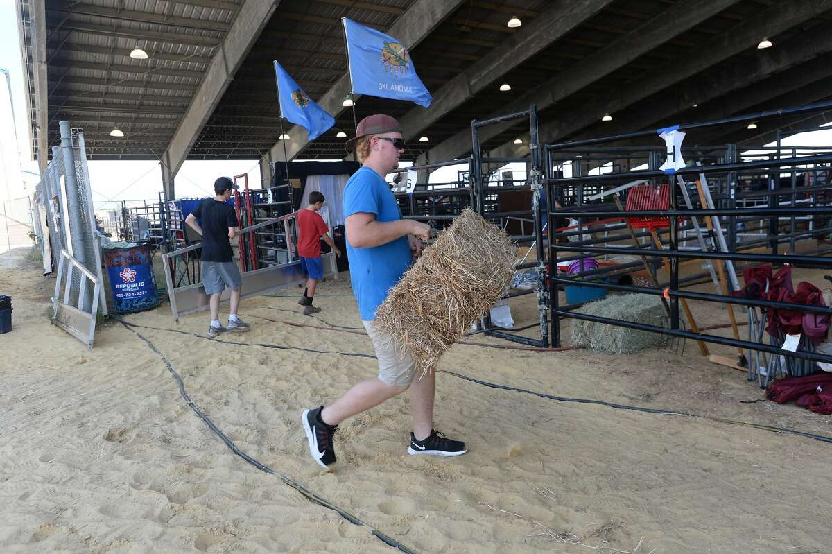 Families arrive and prepare for the start of the National Junior Brangus Show that runs through the week at Ford Park. Photo taken Monday, July 13, 2020 Kim Brent/The Enterprise