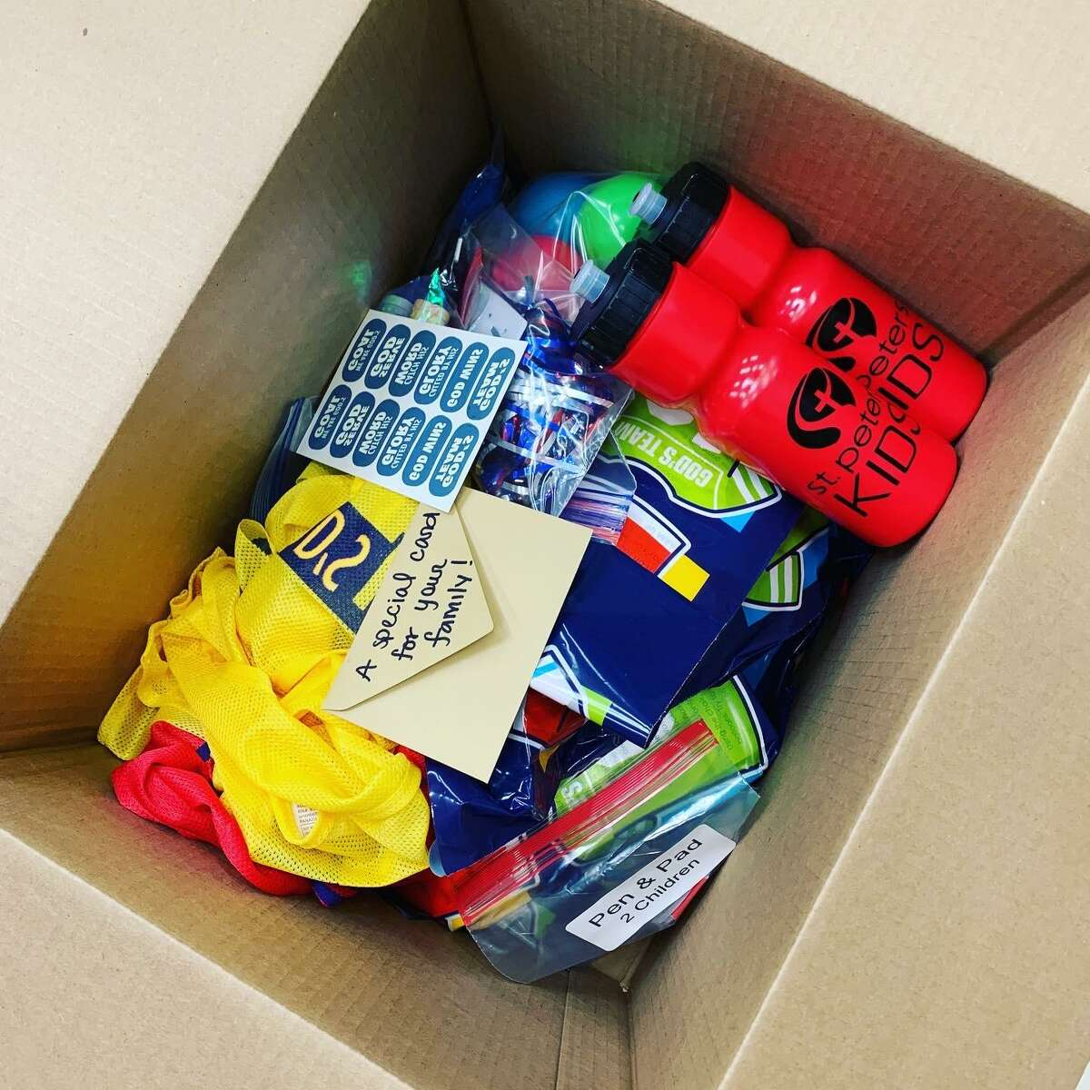 St. Peter's United Methodist Church in Katy has been distributing boxes like this one this summer for children during the pandemic in lieu of traditional camps. They are filled with a variety of activities and goodies to have fun and learn.