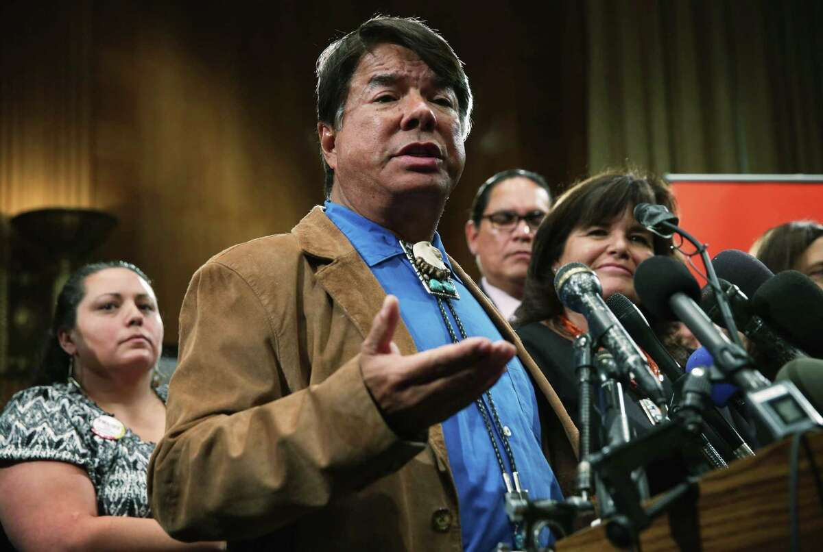 Oneida Indian Nation Representative Ray Halbritter speaks at a 2015 press conference urging that the Washington Redskins change their name. (Photo by Alex Wong/Getty Images)