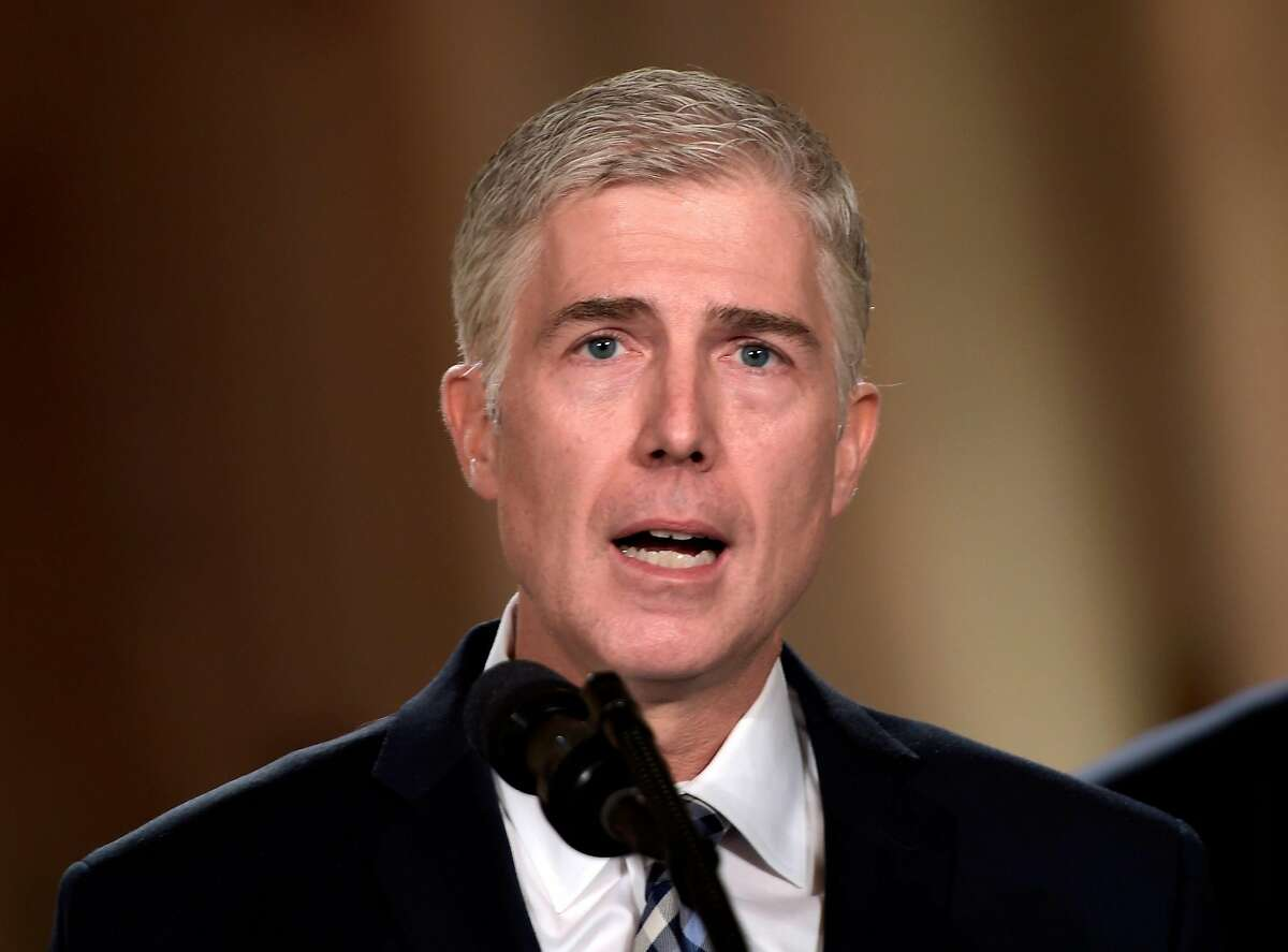 (FILES) In this file photo Neil Gorsuch speaks, after US President Donald Trump nominated him for the Supreme Court, at the White House in Washington, DC, on January 31, 2017. - US Supreme Court Justice Neil Gorsuch, the unexpected author of a landmark ruling to protect LGBT workers, was appointed by President Donald Trump to be a reliably conservative voice on the nation's highest court. Until June 15, 2020, the 52-year-old Gorsuch had largely lived up to his billing, siding with the conservative majority on most legal questions. (Photo by Brendan SMIALOWSKI / AFP) (Photo by BRENDAN SMIALOWSKI/AFP via Getty Images)