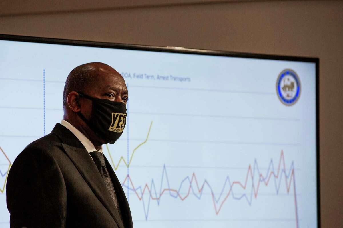 Houston Mayor Sylvester Turner on July 9, 2020, in Houston. Houston is launching a targeted public information campaign officials hope will get critical information about COVID-19 into communities that need it most.