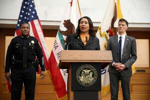 San Francisco Mayor London Breed (center) speaks during a press conference as San Francisco police chief William Scott (left) and San Francisco Department of Public Health director Dr. Grant Colfax (right) look on at San Francisco City Hall on March 16, 2020 in San Francisco, California. San Francisco Mayor London Breed announced a shelter in place order for residents in San Francisco until April 7. The order will allow people to leave their homes to do essential tasks such as grocery shopping and pet walking.
