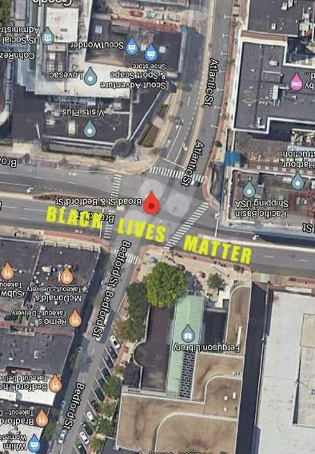 The Black Lives Matter street mural will be created in front of Ferguson Library Plaza on Broad Street in downtown Stamford. Photo: Contributed Photo