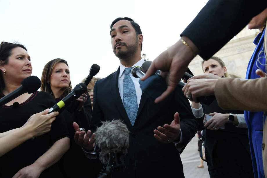 Rep. Joaquin Castro (D-TX) speaks to reporters outside the Capitol on March 14, 2019. Photo: Washington Post Photo By Matt McClain / The Washington Post