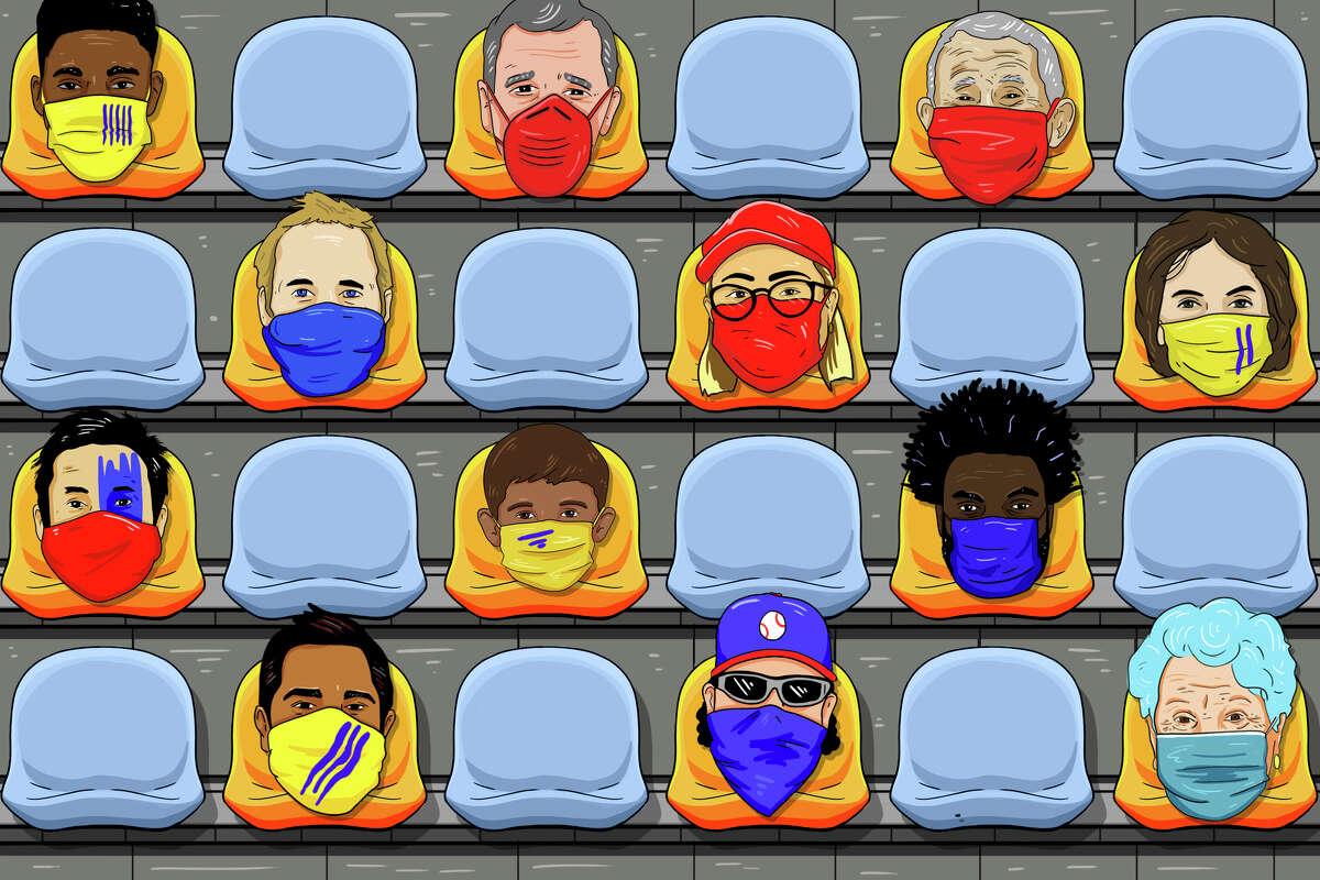 Possible seating arrangements at coronavirus-era sporting events.