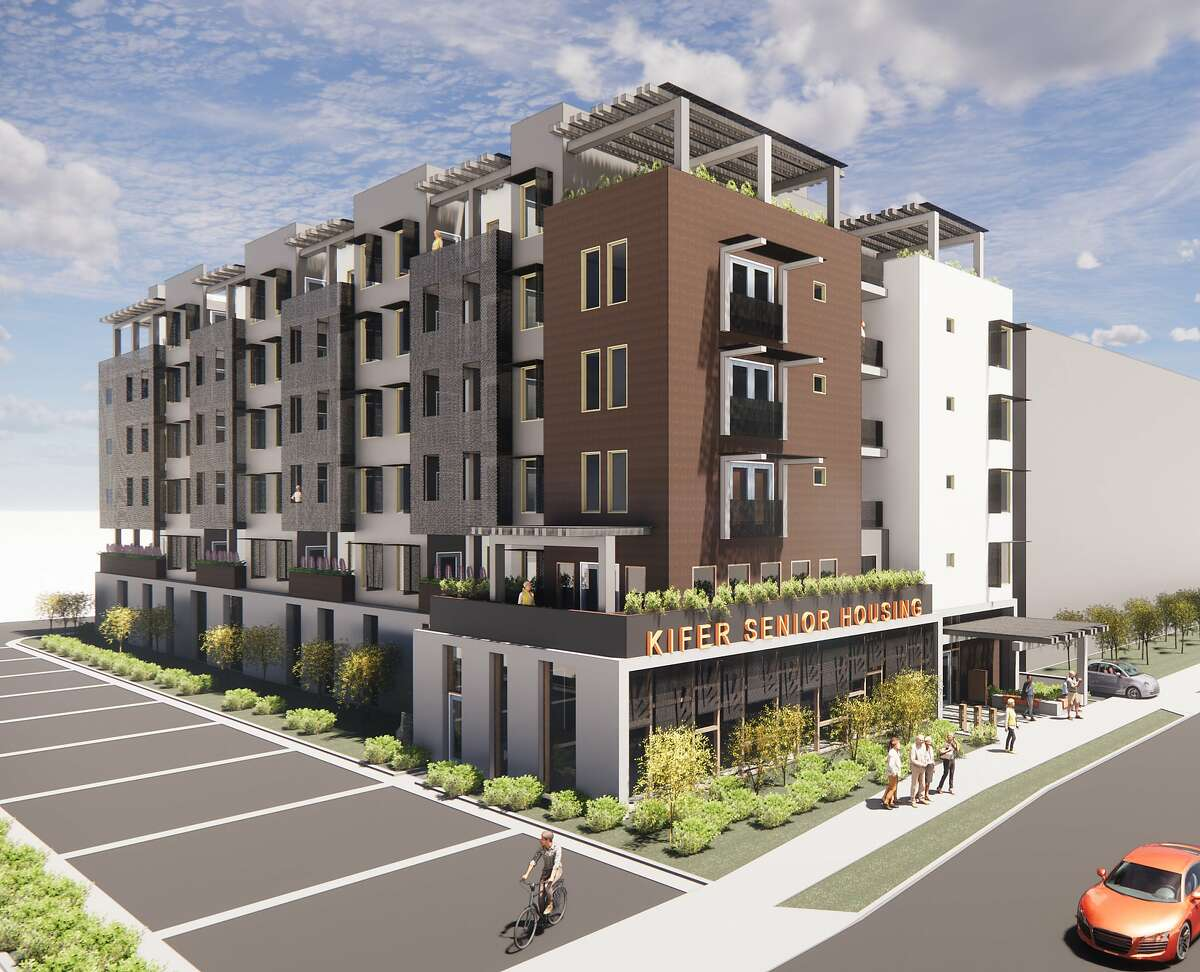 Apple's $2.5 billion housing commitment includes funding for�Kifer Senior Housing project in Santa Clara, shown in an artist's rendering.