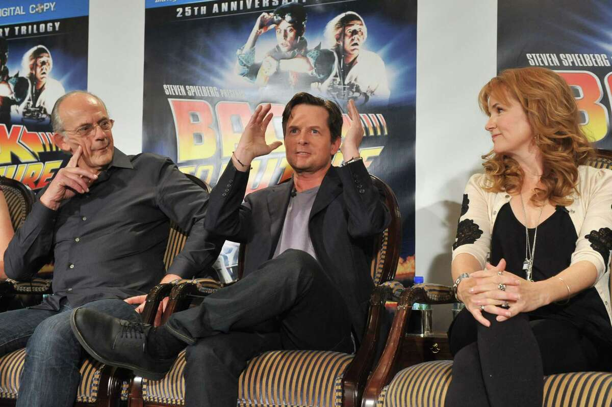 ** COMMERCIAL IMAGE ** In this photograph taken by AP Images for Universal Studios Home Entertainment - Christopher Lloyd, left, Michael J. Fox, center, and Lea Thompson at the Back to the Future 25th Anniversary Trilogy Blu-ray and DVD press conference, Monday, Oct. 25, 2010, in New York, hosted by Universal Studios Home Entertainment. (Diane Bondareff/AP Images for Universal Studios Home Entertainment)