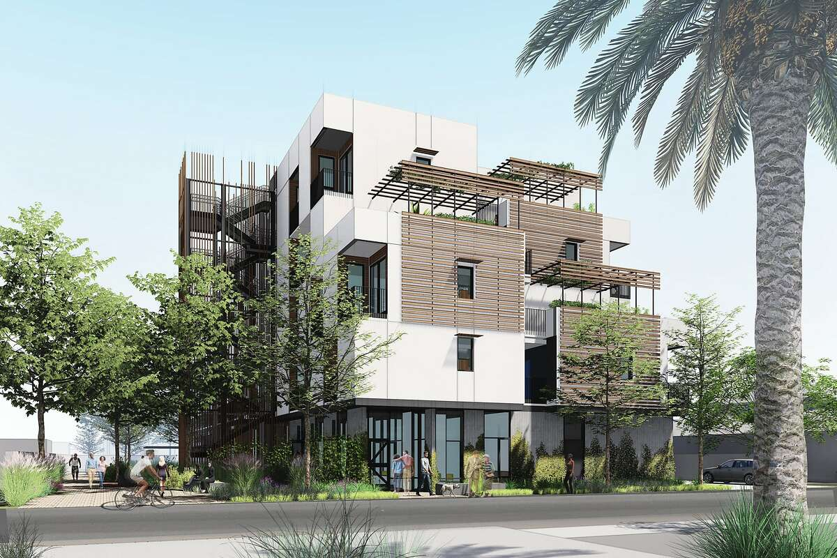Apple's $2.5 billion housing commitment includes funding for�new housing projects including�329 Page St. in San Jose, shown in an artist's rendering.