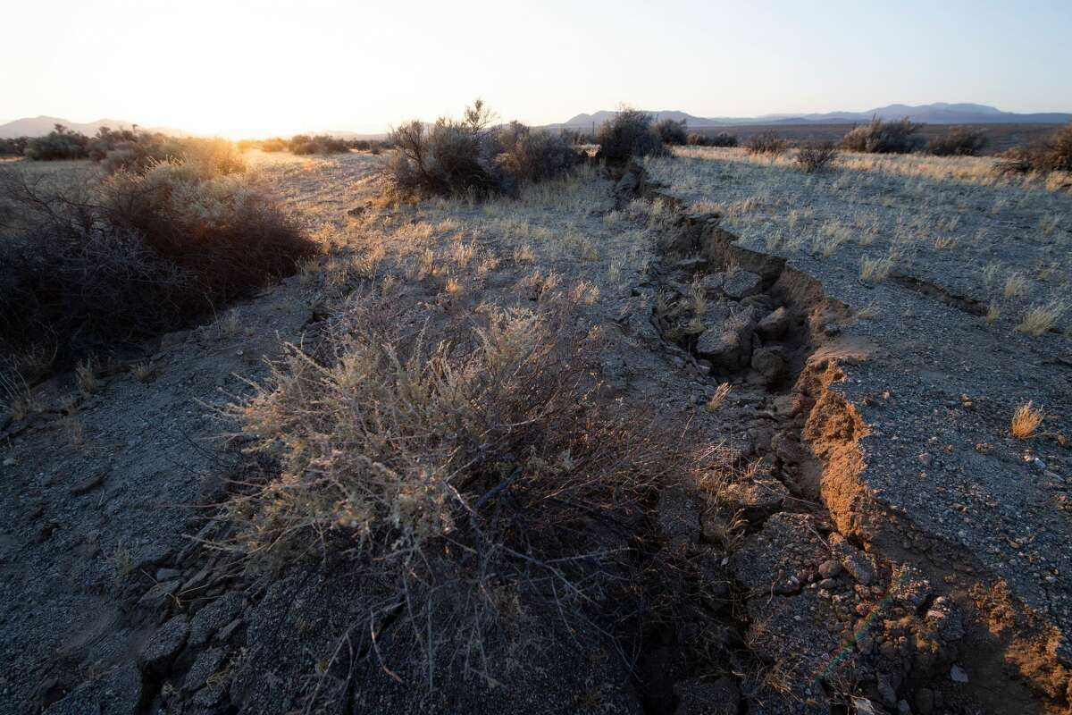 Surface ruptures and offsets caused by the magnitude 7.1 earthquake along State Route 178 between Ridgecrest and Trona California on June 6, 2019.