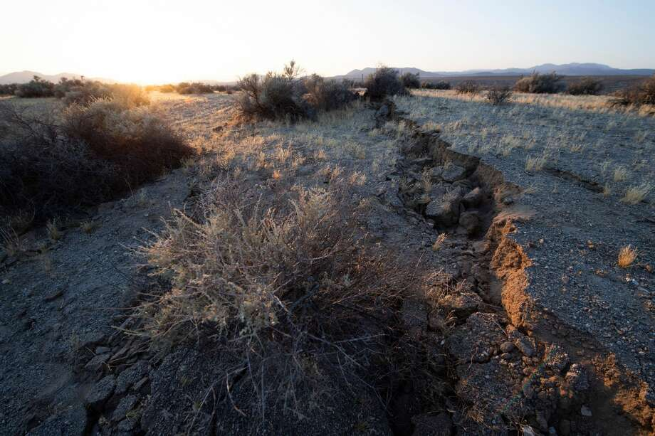 Surface ruptures and offsets caused by the magnitude 7.1 earthquake along State Route 178 between Ridgecrest and Trona California on June 6, 2019. Photo: ROBYN BECK/AFP Via Getty Images