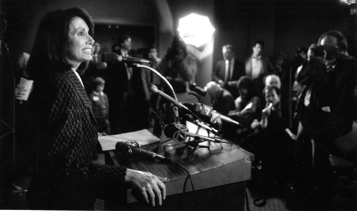 Nancy Pelosi announces her candidacy for Congress , January 12, 1987