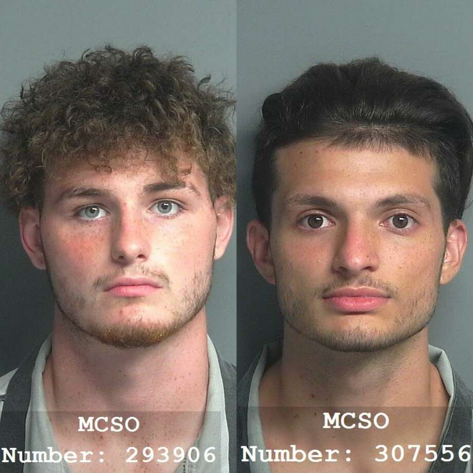 Joseph Ontario Amigliore, 19, left, and Franco Benjamin Muto, 20, right, both from Porter, are being charged with racing on a highway causing death, a second-degree felony. Photo: Courtesy Of The Montgomery County Sheriff's Office