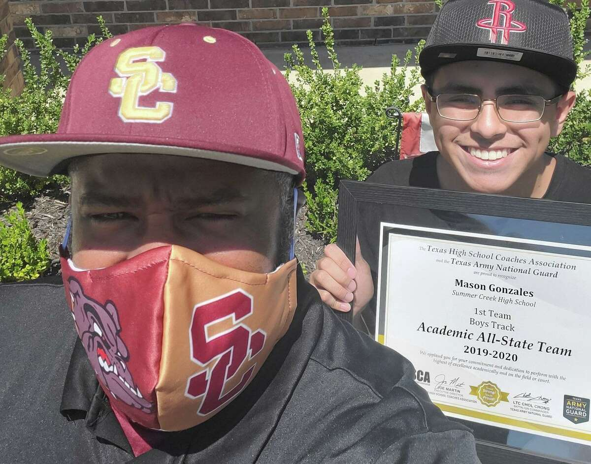 Summer Creek coach Shelton Ervin visits his runners during the COVID-19 pandemic to deliver season honors