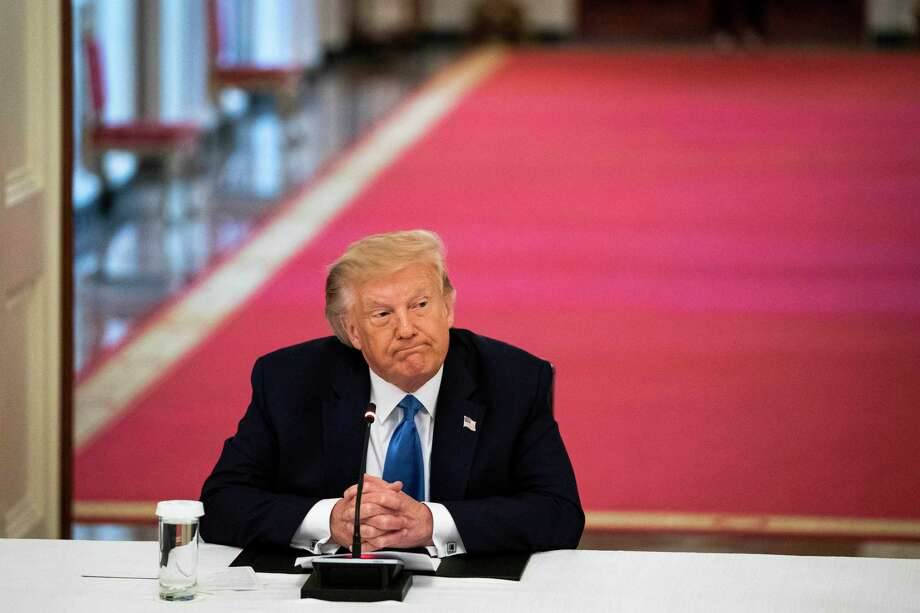 President Donald Trump participates in a White House roundtable discussing law enforcement on Monday, July 13, 2020. Photo: Washington Post Photo By Jabin Botsford / The Washington Post