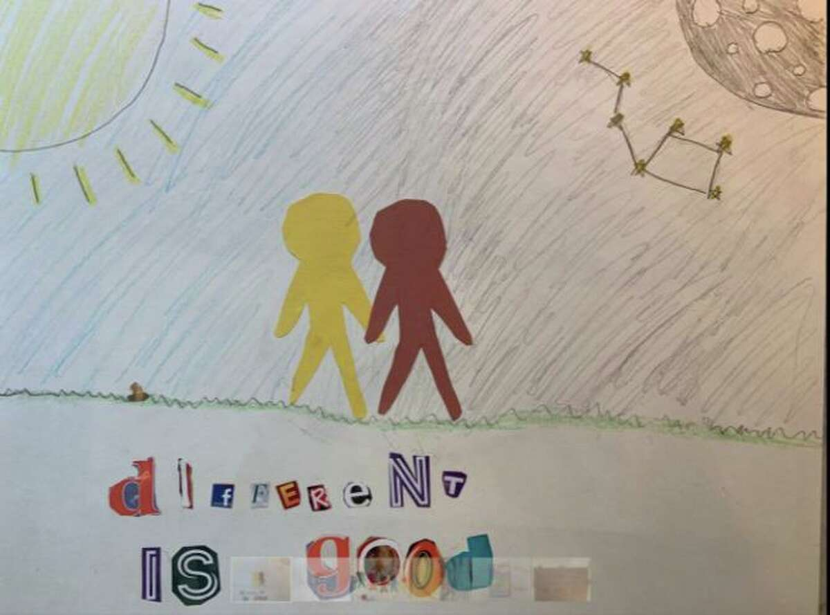 Artwork designed by children showing race relations.