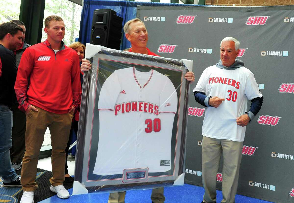 A retirement ceremony was held for Sacred Heart University baseball team head coach Nick Giaquinto at the Webster Bank Arena in 2017.