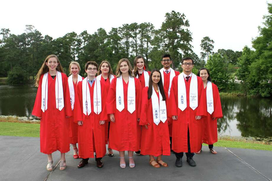 Atascocita High School Top 10 for the 2018-19 school year: Front Row (from left to right): Erin Peters, Jordan Wells, Madeline Ellis, Morgan Marinelli, Woraphat KitwanphattharBack Row (from left to right): Abigail Caldwell, Kennedy Leonard, Mallory Emswiler, Asad Danka, Alexis Wu Photo: Courtesy: Humble ISD