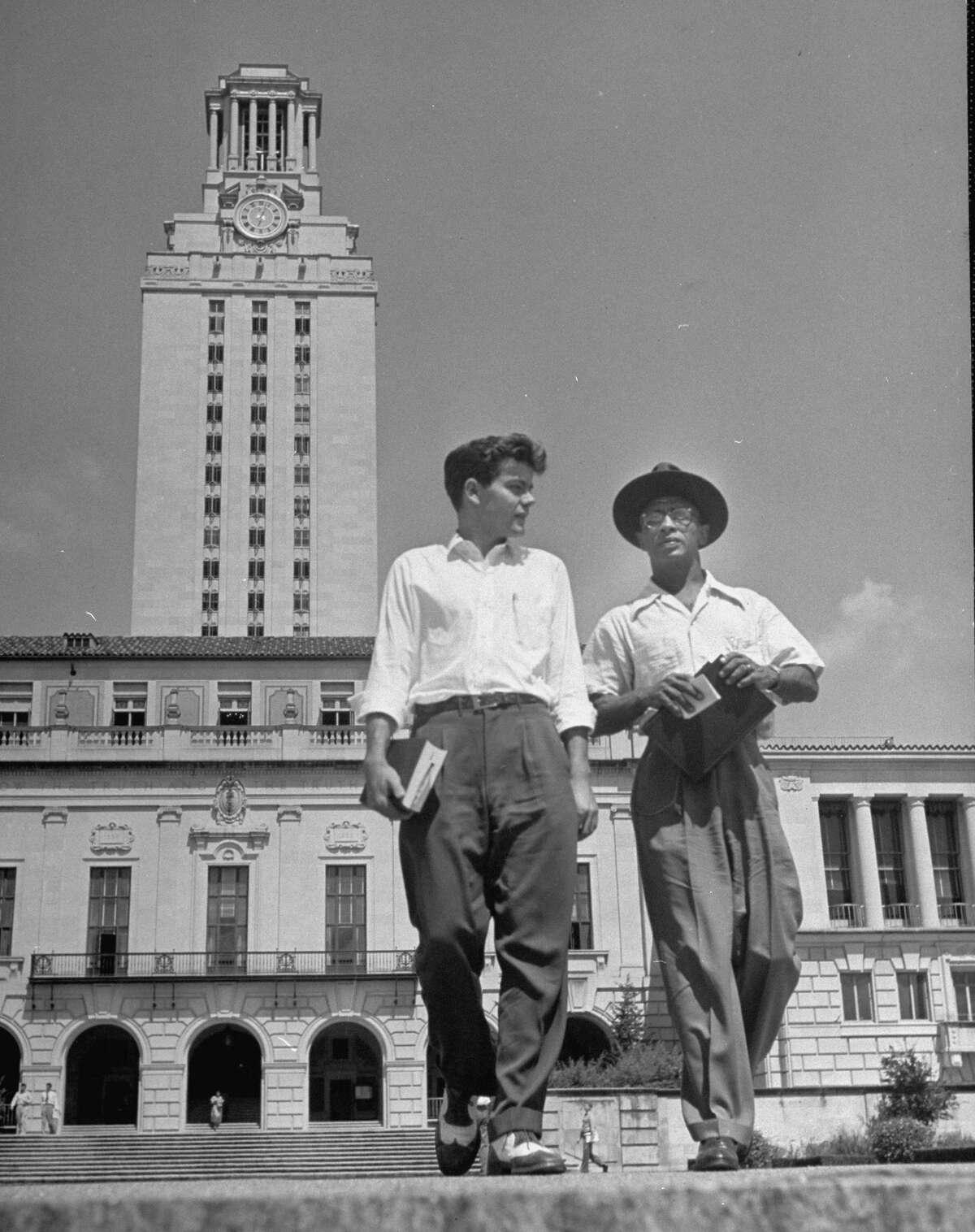 September 1950: (L-R) Campus editor Ronnie Dugger & Heman Marion Sweatt, after his first law class at Texas Univ.