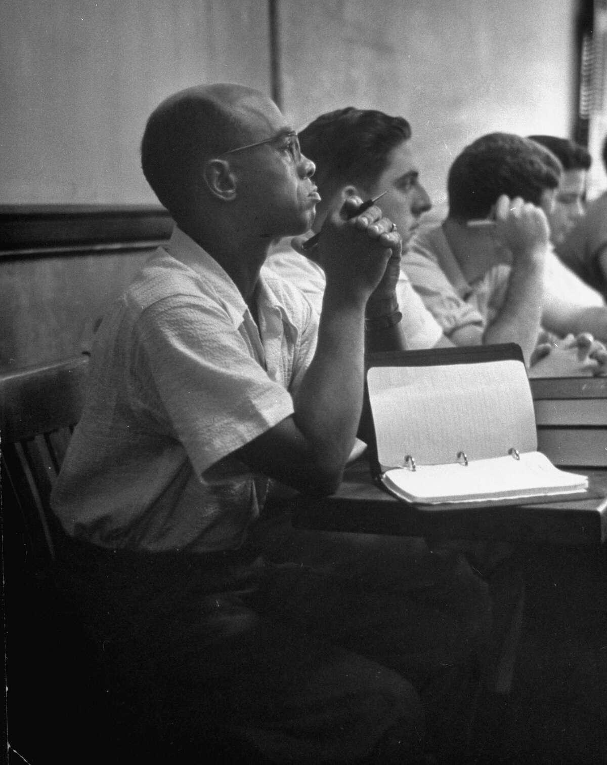September 1950: Heman Marion Sweatt (L) in his first law class at Texas Univ.