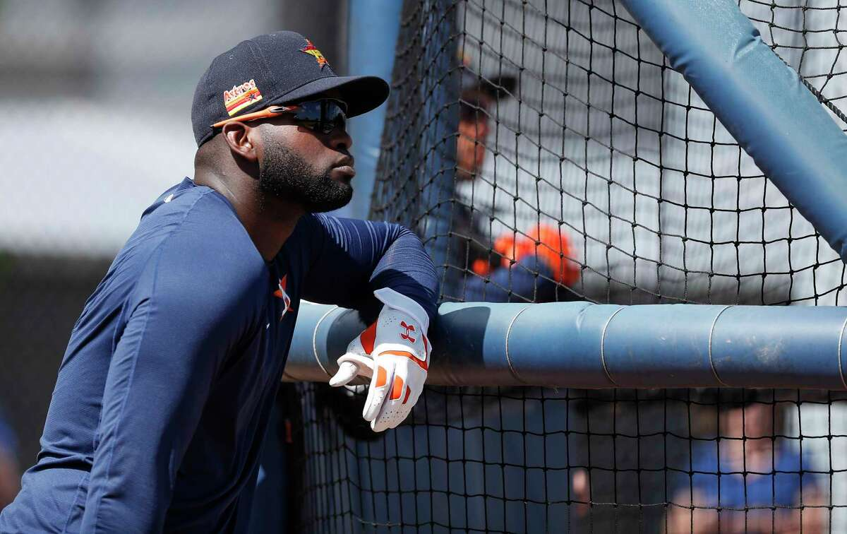 Houston Astros outfielder Yordan Alvarez (44) during the Houston Astros spring training workouts at the Fitteam Ballpark of The Palm Beaches, in West Palm Beach , Wednesday, Feb. 19, 2020.